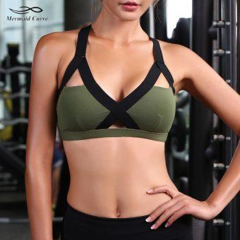 Mermaid Curve 2019 New Women's Gym Fitness Yoga Top Bra Popular Sports Bras girls Push Up Patchwork Workout Running Sports Bra