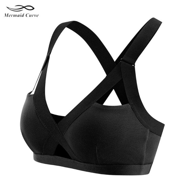 Mermaid Curve 2019 New Women's Gym Fitness Yoga Top Bra Popular Sports Bras girls Push Up Patchwork Workout Running Sports Bra
