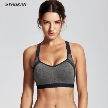SYROKAN Women's Full Coverage Racerback Underwire High Impact Workout Sports Bra