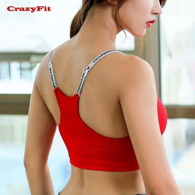 Red Adjustable Yoga Top Sports Bra Top Female Women Push Up 2018 For fitness Athletic Gym Workout Sport Brassiere Underwear Bras