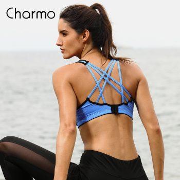 Charmo Women Sports Bra Medium Impact Solid Cross Strap Yoga Bra Women Padded Yoga Bra Running Workout Breathable Sport Top