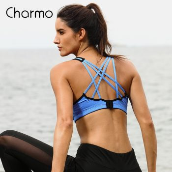 Charmo Women Sports Bra Medium Impact Solid Cross Strap Yoga Bra Women Padded Yoga Bra Running Workout Breathable Sport Top