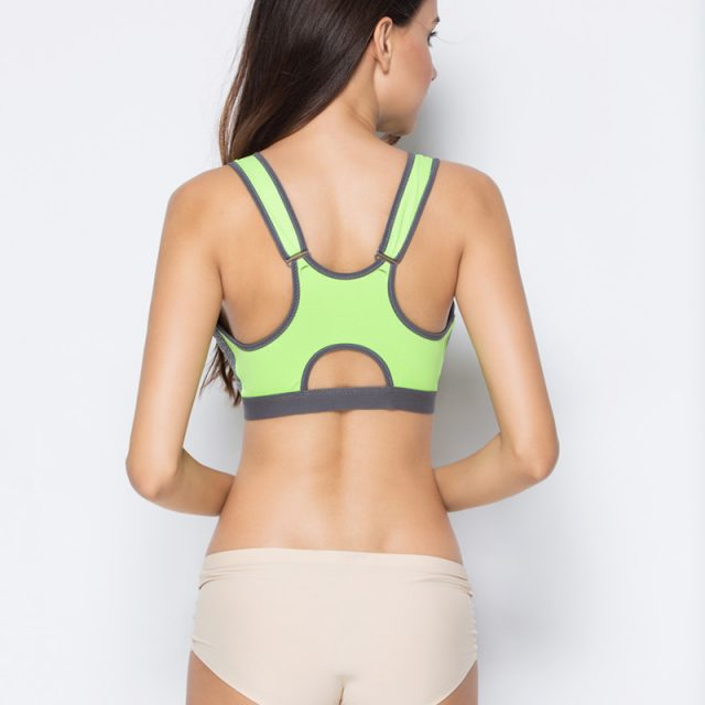 Women Zipper Push Up Sports Bras Shockproof Underwear Running Vest Gym Workout Running Tops Sportswear Yoga Sport Top