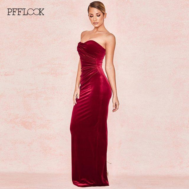 PFFLOOK Velvet Bodycon Sexy Party Dress Strapless Sleeveless Elegant Maxi Long Christmas Dress Women Fold Club Vestidos 2019