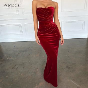 PFFLOOK Velvet Bodycon Sexy Party Dress Strapless Sleeveless Elegant Maxi Long Christmas Dress Women Fold Club Vestidos 2019