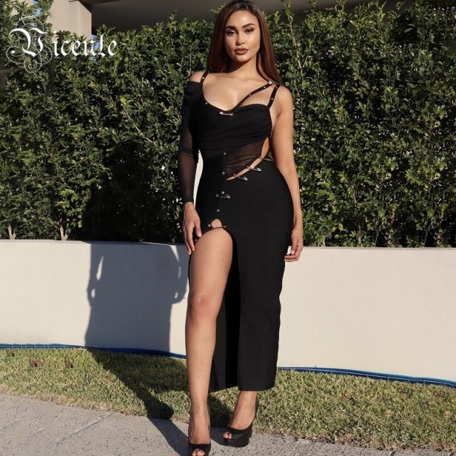 VC All Free Shipping 2020 Hot New Chic Elegant Pin Split Design Sexy One Shoulder Celebrity Party Bandage Long Dress