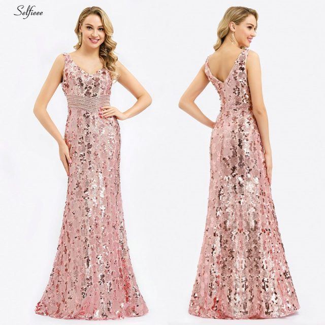 Sparkle women dresses Long Mermaid Sequined Tank V-Neck Sleeveless Sexy Maxi Summer Dresses 2020 Cheap Elegant Party Dresses