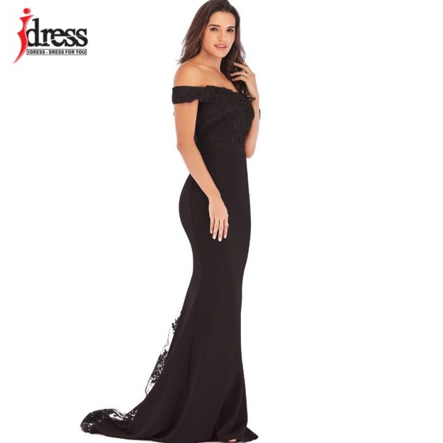 IDress Vestidos Women Evening Gown Long Sexy Mermaid Bodycon Lace Dress Slash Neck Robe Longue Prom Gowns Formal Party Dresses