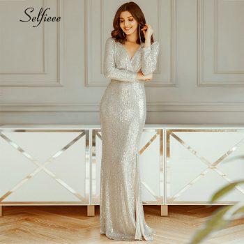 Luxury Maxi Dress Sequined V-Neck Long Sleeve Side Split Fashion Maxi Dress Sexy Night Club Party Dress