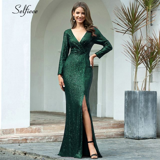 Luxury Maxi Dress Sequined V-Neck Long Sleeve Side Split Fashion Maxi Dress Sexy Night Club Party Dress