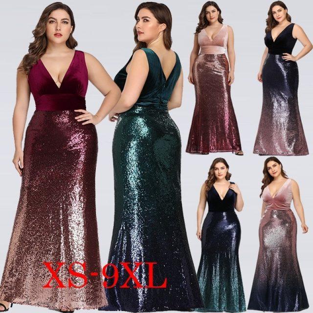 Sexy Velvet Party Dress Plus Size Women V Neck Sleeveless Long Mermaid Sequin Dress New Summer Maxi Bodycon Vestidos De Fiesta
