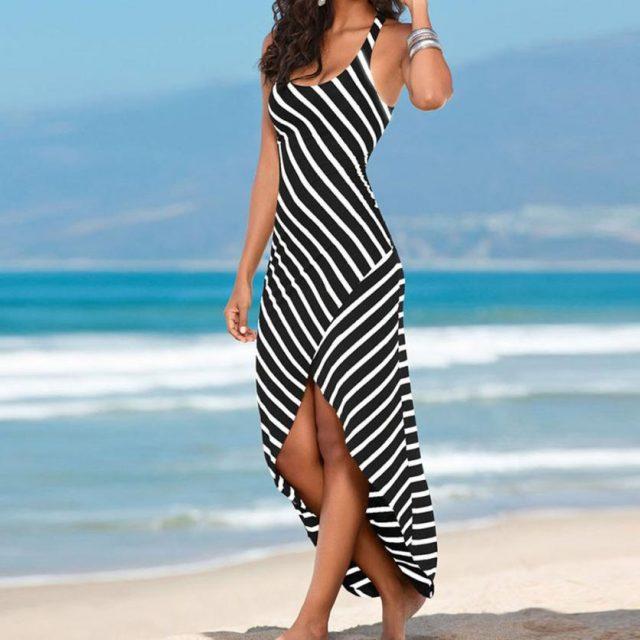 Srogem Summer NEW Fashion Women Casual Sundress Sleeveless Stripes Loose Long Asymmetrical Beach Dress Wholesale Freeship N4
