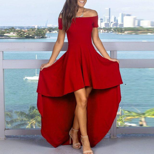 Sexy Dress Women Casual Solid Off Shoulder Slash Neck Short Sleeve Backless Lrregular платье Evening Party Asymmetrical Dress