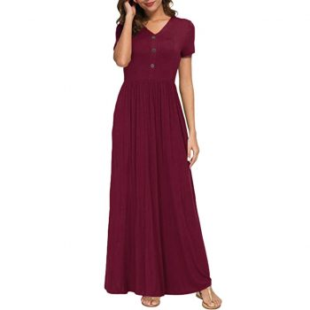 Summer Sexy Women V Neck Casual Botton Pockets Short Sleeve Loose Floor Length Dress NEW Fashion Party Dress Freeship N4