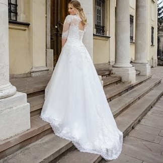 A Line Plus Size Wedding Dress With Half Sleeve Custom Made Lace Appliques Lace Up Back Bride Dress For Big Size Women