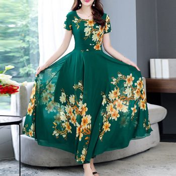 Women's Summer Dress Short Sleeve Maxi Dress Bohemian Floral Print Long Dress Round Neck Belt Elegant Large Size Dresses#J30