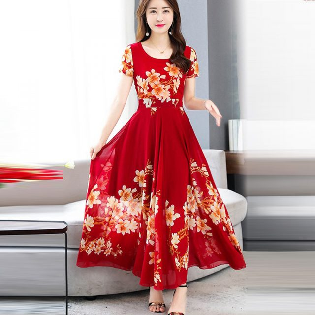 Women's Summer Dress Short Sleeve Maxi Dress Bohemian Floral Print Long Dress Round Neck Belt Elegant Large Size Dresses#J30