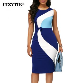 Summer Dress Women 2020 Casual Plus Size Slim Office Pencil Bodycon Dresses Elegant Sexy Geometric Patchwork Color Party Dress