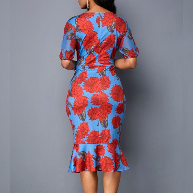 Sexy V Neck Vintage Floral Print Office Bodycon Dress Women Summer 2020 Casual Plus Size Slim Ruffles Mermaid Long Party Dresses