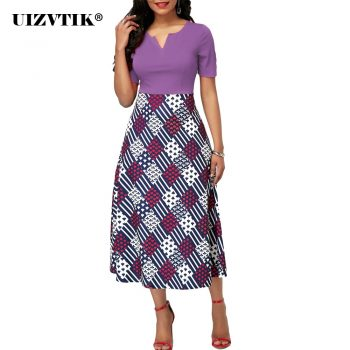 Summer Dress Women 2020 Casual Plus Size Slim Patchwork Diamond Print A line Office Dresses Elegant Sexy V Neck Long Party Dress