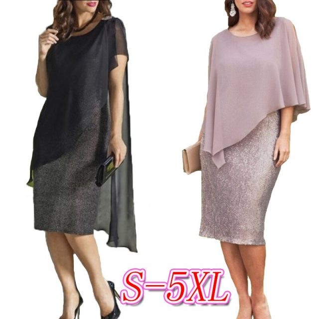 Fake Two Pieces Chiffon Summer Dress Women 2020 Sexy Pencil Banquet Long Party Dresses Casual Plus Size Slim Bodycon Woman Dress