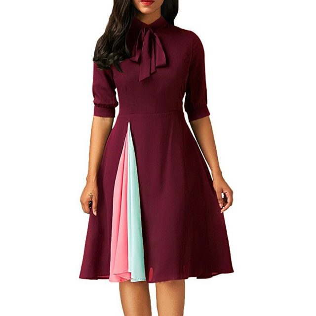 Patchwork Summer Autumn Dress Women 2020 Casual Plus Size Slim Office Dresses Elegant Vintage Sexy Ball Gown Long Party Dress