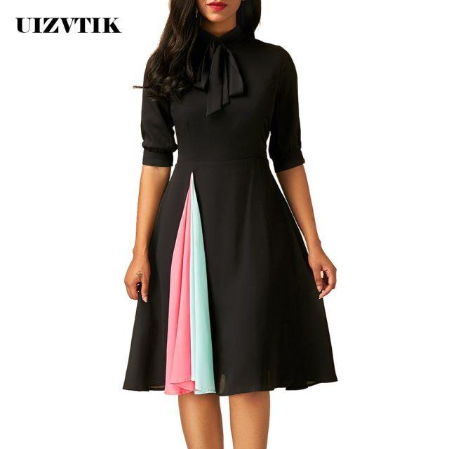Patchwork Summer Autumn Dress Women 2020 Casual Plus Size Slim Office Dresses Elegant Vintage Sexy Ball Gown Long Party Dress