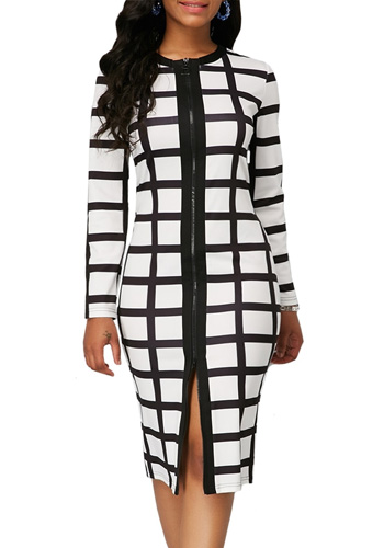 Black White Plaid Dress Women Autumn Summer Casual Plus Size Slim Zipper Office Pencil Dresses Sexy Split Long Party Dress