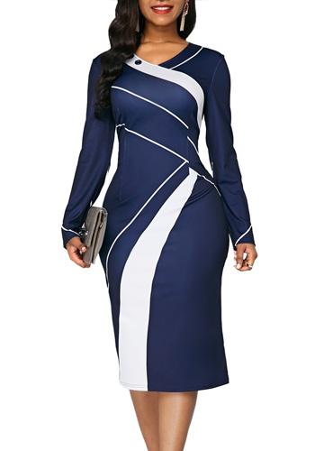 Striped Autumn Summer Dress Women 2020 Casual Plus Size Slim Office Pencil Dresses Sexy V Neck Geometric Print Long Party Dress
