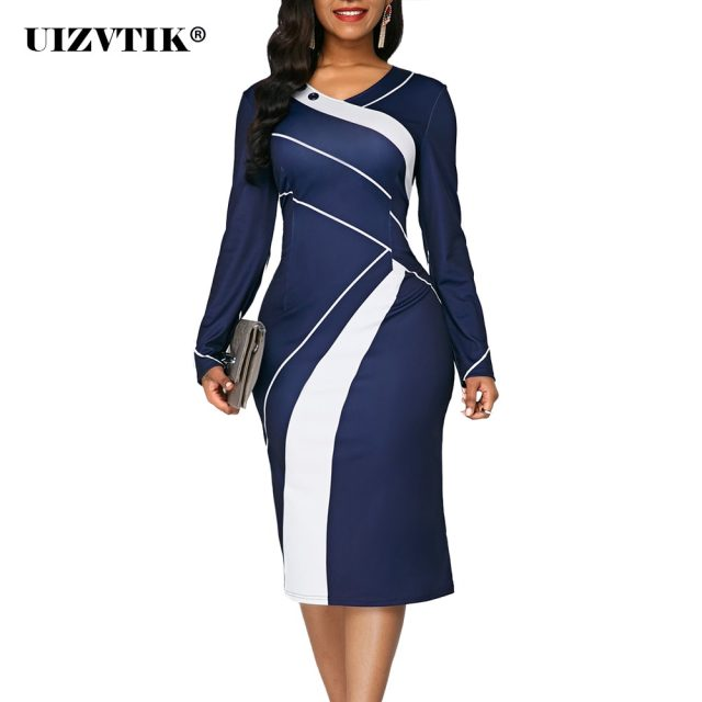 Striped Autumn Summer Dress Women 2020 Casual Plus Size Slim Office Pencil Dresses Sexy V Neck Geometric Print Long Party Dress