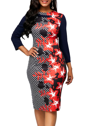 Vintage Floral Print Dress Women Autumn Summer 2020 Casual Plus Size Slim Office Bodycon Dresses Sexy Split Long Party Dress 5XL