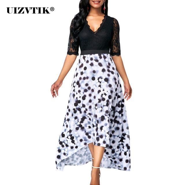 Vintage Dot Print Woman Dress Autumn 2020 Sexy V Neck Patchwork Lace Long Party Dress Casual Plus Size Slim Irregular Dresses
