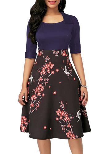 Vintage Floral Print Dress Women Autumn Summer Casual Plus Size Slim Patchwork A Line Office Dresses Sexy Long Party Dress