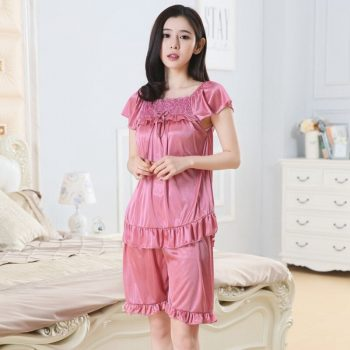 Silk Satin Sexy Lingerie Shorts Pajama Sets for Women 2019 Summer Short Sleeve Sleepwear Suit Homewear Pijama Mujer Home Clothes