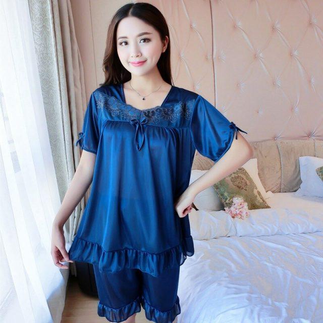 2019 Summer Sexy Silk Satin Lingerie Shorts Pajama Sets for Women Short Sleeve Pyjama Lace Sleepwear Femme Homewear Pijama Mujer