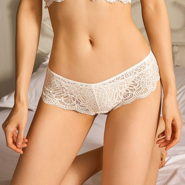 TERMEZY Sexy Lace Transparent Panties Women Seamless Temptation Underwear Low-waist Bandage Hollow Briefs Cross Strap Lingerie