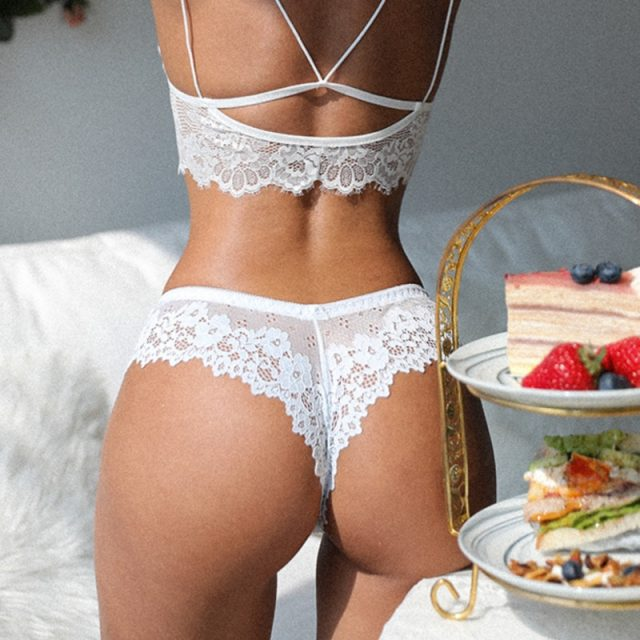 SP&CITY Sexy Panties Hollow Out Lace Women's Underpants Embroidery Seamless Thong Mid Waist Transparent Underwear Sex String