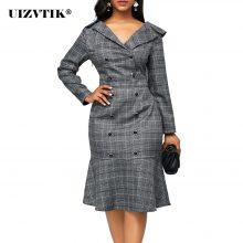 Vintage Plaid Office Bodycon Dress Women Autumn 2020 Long Sleeve Double-breasted Dress Casual Plus Size Slim Ruffles Dresses 5XL