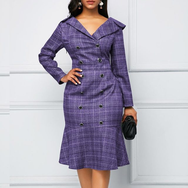 Vintage Plaid Office Bodycon Dress Women Autumn 2020 Long Sleeve Double-breasted Dress Casual Plus Size Slim Ruffles Dresses 5XL