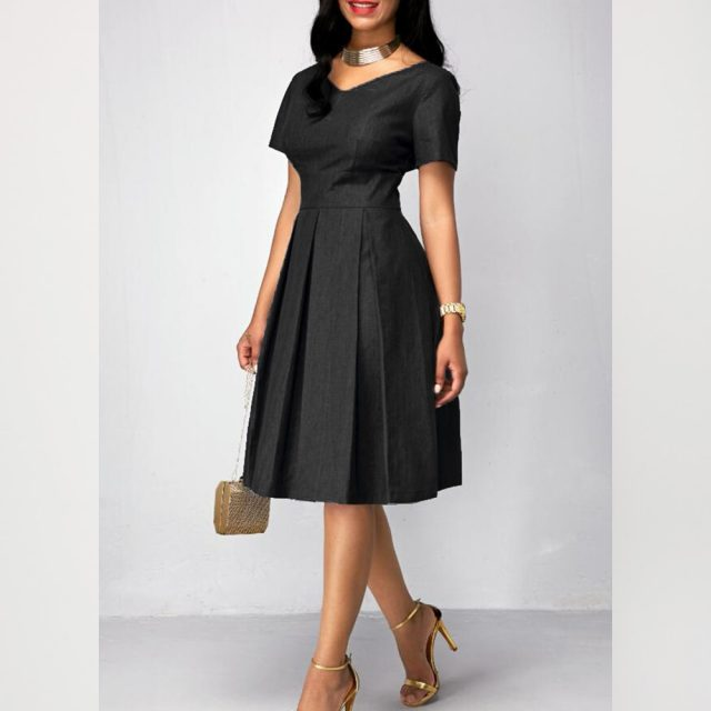 Summer Dress Women 2020 Casual Plus Size Slim Solid Office A Line Dresses Elegant Vintage Sexy V Neck Long Evening Party Dress