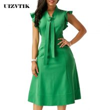 Ruffles Woman Dress Summer 2020 Vintage Sexy Long Evening Long Party Dress Casual Plus Size Slim Solid Office A Line Dresses 5XL