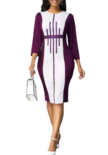Patchwork Striped Office Pencil Dress Women Autumn Summer 2020 Casual Plus Size Slim Bodycon Dresses Sexy Split Long Party Dress