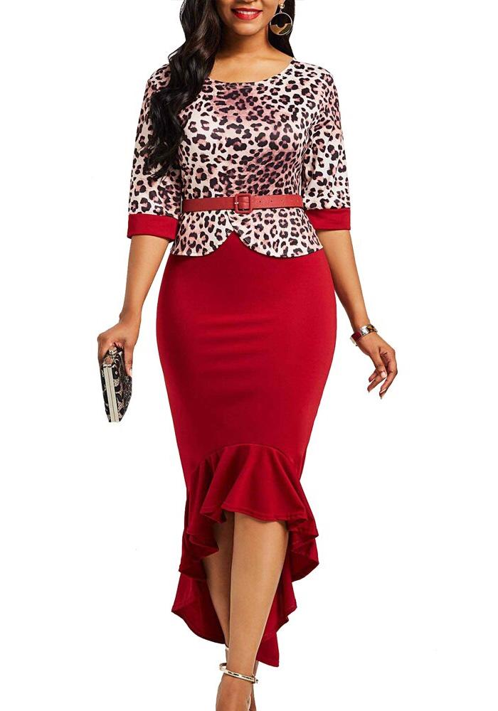 Leopard Ruffles Dress Women Autumn Summer 2020 Vintage Bandage Sexy Long Party Dress Casual Plus Size Slim Bodycon Maxi Dresses