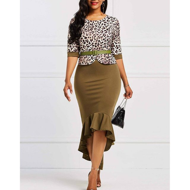 Leopard Ruffles Dress Women Autumn Summer 2020 Vintage Bandage Sexy Long Party Dress Casual Plus Size Slim Bodycon Maxi Dresses