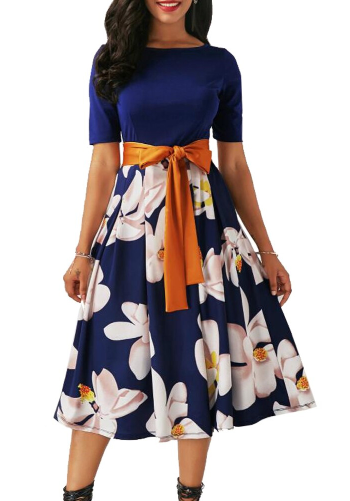 Patchwork Vintage Floral Print Dress Women Summer Autumn 2020 Casual Plus Size Slim Ball Gown Party Dress Bandage Long Dresses
