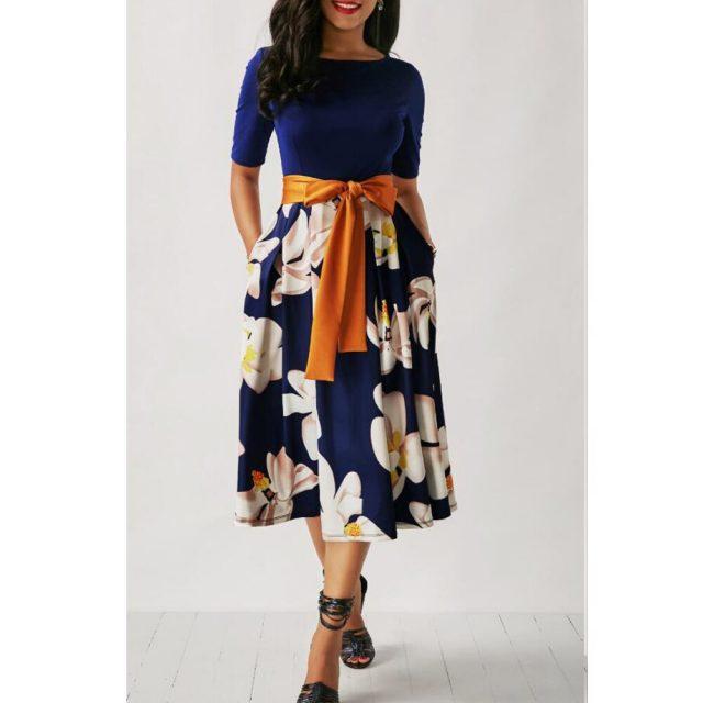 Patchwork Vintage Floral Print Dress Women Summer Autumn 2020 Casual Plus Size Slim Ball Gown Party Dress Bandage Long Dresses