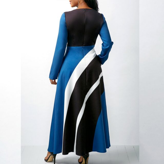 Vintage Striped Dress Women Autumn Summer 2020 Casual Plus Size Slim Ball Gown Maxi Dress Sexy V Neck Long Party vestidos 5XL