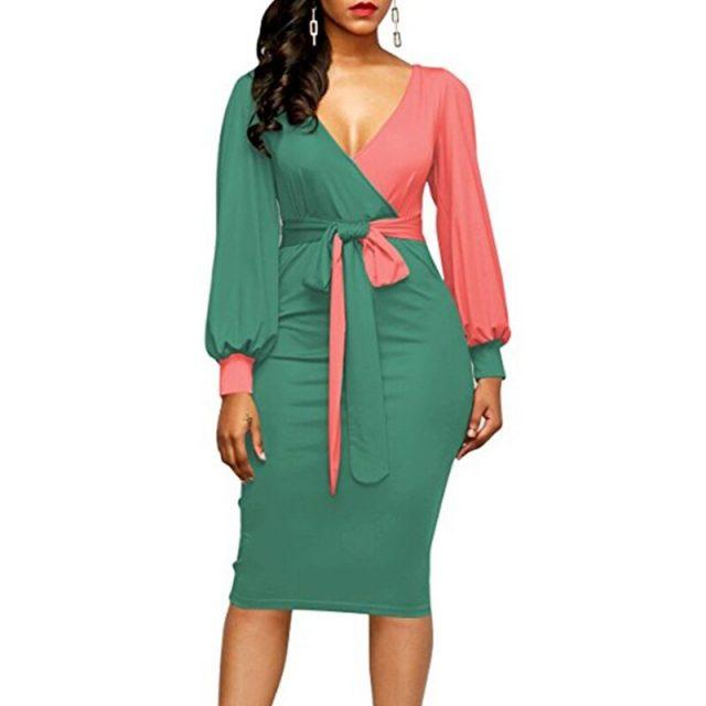 Bandage Summer Autumn Dress Women 2020 Casual Plus Size Slim Patchwork Office Pencil Dresses Sexy Deep V Neck Long Party Dress