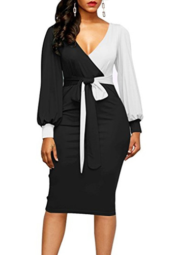 Bandage Summer Autumn Dress Women 2020 Casual Plus Size Slim Patchwork Office Pencil Dresses Sexy Deep V Neck Long Party Dress