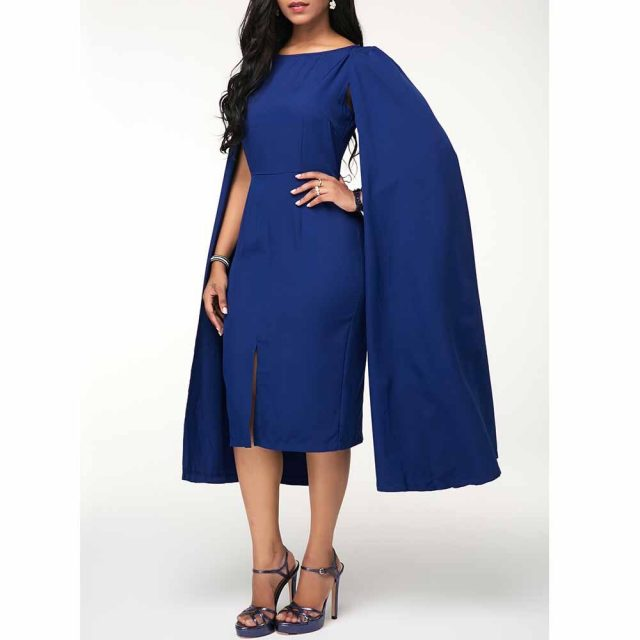 Cloak Split Woman Dress Summer Autumn 2020 Casual Plus Size Slim Office Pencil Bodycon Dresses Vintage Sexy Long Party Dress 5XL